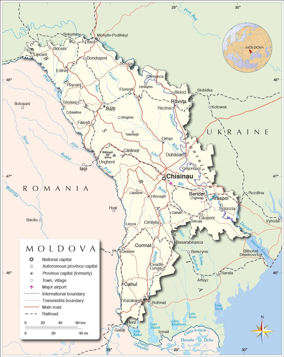 Republic Of Moldova Map Map Of Republic Of Moldova Eastern Europe